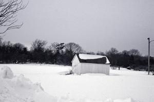 Snowy Scene in Sag Harbor NY b/w
