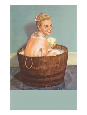 Soapy Blonde in Barrel Tub