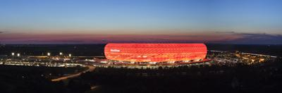 Soccer Stadium Lit Up at Dusk, Allianz Arena, Munich, Bavaria, Germany