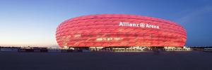 Soccer Stadium Lit Up at Dusk, Allianz Arena, Munich, Bavaria, Germany