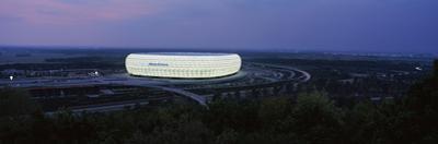 Soccer Stadium Lit Up at Nigh, Allianz Arena, Munich, Bavaria, Germany