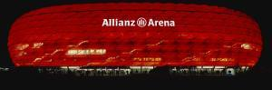 Soccer Stadium Lit Up at Night, Allianz Arena, Munich, Germany