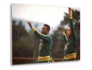 Soccer Star Pele and Teammates Loosen Up before a Practice Prior to World Cup Competition