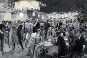 Social Season on Island of Capri, 1926, by Ugo Matania (1888-1979), Tempera in Black and White
