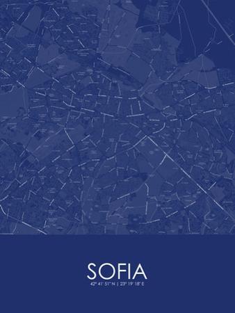 Sofia, Bulgaria Blue Map