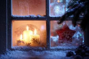 Frosted Window with Christmas Decoration by Sofiaworld