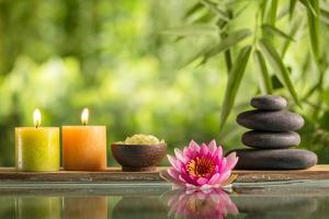 Spa Still Life with Burning Candles,Zen Stone and Salt Reflected in a Serenity Pool by Sofiaworld