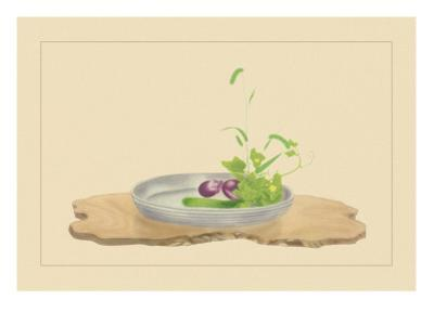 Foxtail Grass, Eggplant, and Cucumber