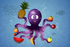 Funny Octopus with Vegan Fruits by sognolucido