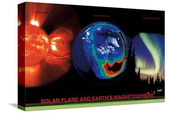 Solar Flare and Earth's Magnetism--Stretched Canvas
