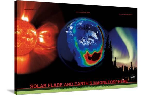 Solar Flare and Earth's Magnetism--Stretched Canvas Print