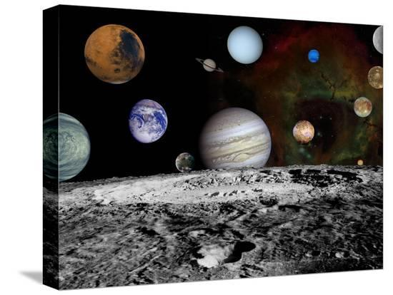 Solar System Montage of Voyager Images Photograph - Outer Space-Lantern Press-Stretched Canvas