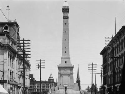 Soldiers and Sailors Monument during Construction in Indianapolis
