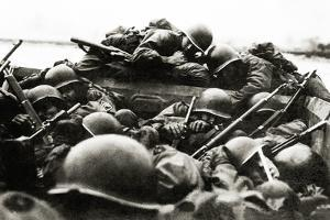 Soldiers of the 89th Infantry Division in a Landing Craft During an Assault across the Rhine