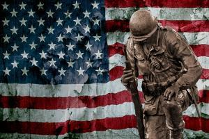 Solider Statue and American Flag by Identical Exposure
