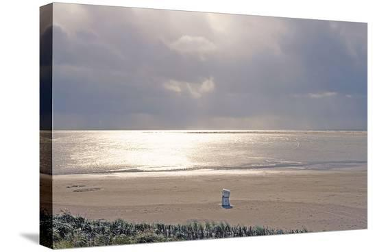 Solitary September Beach--Stretched Canvas Print