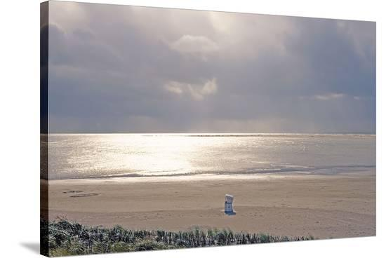 Solitary September Beach--Stretched Canvas