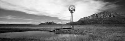 Solitary Windmill Near a Pond, U.S. Route 89, Utah, USA