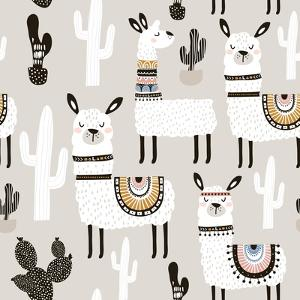 Llama and Cactus Pattern by SolodkayaMari