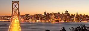Bay Bridge at Sunset and Twilight Time-San Francisco by Somchaij