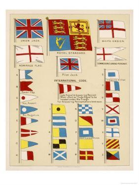 Some of the Signal Flags of Royal Navy Including the Royal Standard White Ensign Union Jack