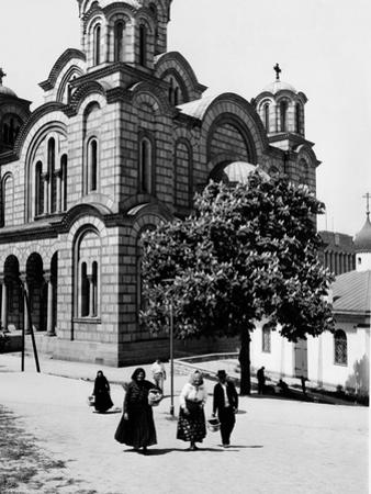 Some Serbian People Strolling in Front of a Church, Belgrade