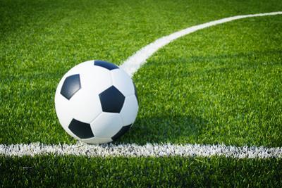 Soccer Football Field Stadium Grass Line Ball Background Texture by somkanokwan
