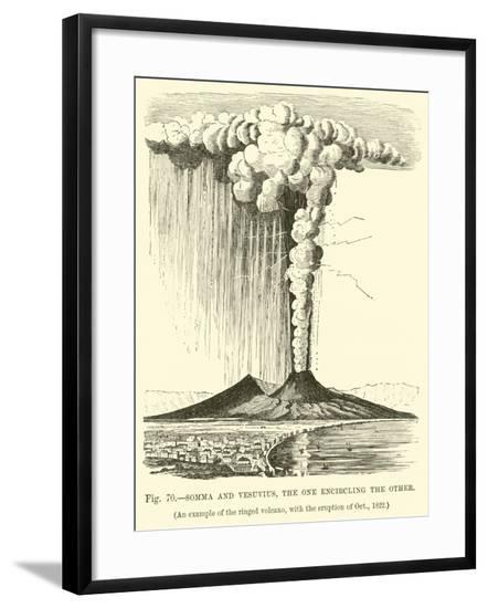 Somma and Vesuvius, the One Encircling the Other--Framed Giclee Print