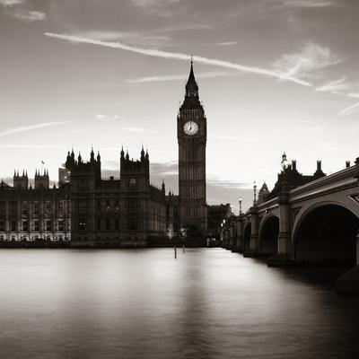 Big Ben and House of Parliament in London at Dusk Panorama.