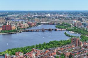 Boston Charles River Aerial View with Buildings and Bridge. by Songquan Deng
