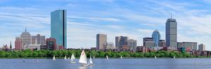 Boston Charles River Panorama with Urban City Skyline Skyscrapers and Boats with Blue Sky. by Songquan Deng