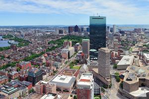 Boston Skyline Aerial View Panorama with Skyscrapers and Charles River. by Songquan Deng
