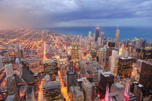 Chicago Downtown Aerial View at Dusk with Skyscrapers and City Skyline at Michigan Lakefront by Songquan Deng