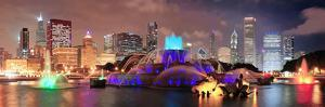 Chicago Skyline Panorama with Skyscrapers and Buckingham Fountain in Grant Park at Night Lit by Col by Songquan Deng