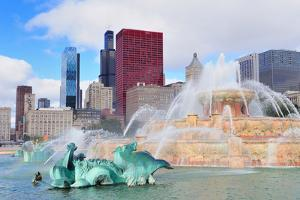 Chicago Skyline Panorama with Skyscrapers and Buckingham Fountain in Grant Park in the Morning With by Songquan Deng