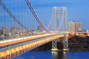 George Washington Bridge at Dusk over Hudson River. by Songquan Deng