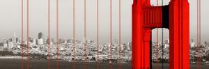 Golden Gate Bridge Closeup Panorama in San Francisco as the Famous Landmark. by Songquan Deng