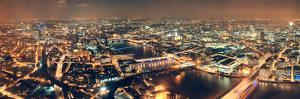 London Aerial View Panorama at Night with Urban Architectures and Bridges. by Songquan Deng