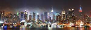New York City Manhattan Skyline Panorama at Night over Hudson River with Refelctions Viewed from Ne by Songquan Deng