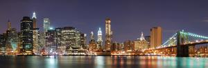 New York City Manhattan Skyline Panorama with Brooklyn Bridge and Office Skyscrapers Building in At by Songquan Deng