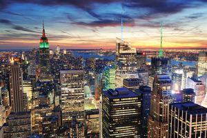 New York City Skyline with Urban Skyscrapers at Sunset. by Songquan Deng