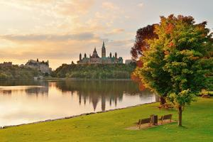 Ottawa City Skyline at Sunrise in the Morning Park View over River by Songquan Deng