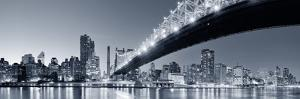 Queensboro Bridge over New York City East River Black and White at Night with River Reflections And by Songquan Deng