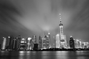 Shanghai Skyline At Night In Black And White by Songquan Deng