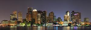 Urban City Night Scene Panorama from Boston Massachusetts. by Songquan Deng