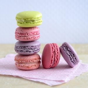 Colored Macaroons on a Platter by Sonia Chatelain