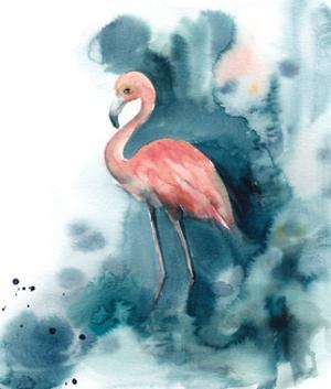 Pink and Blue Flamingo by Sophia Rodionov