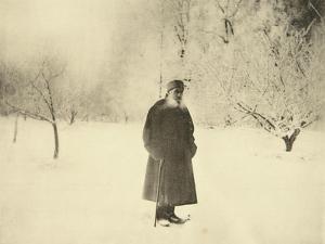 Russian Author Leo Tolstoy Taking a Winter Walk, 1900s by Sophia Tolstaya