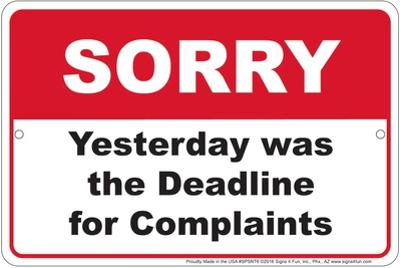 Sorry Complaint Deadline
