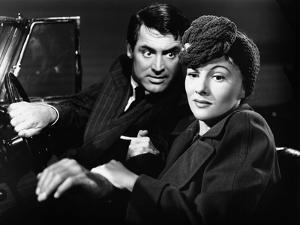 Soupcons SUSPICION by AlfredHitchcock with Joan Fontaine and Cary Grant, 1941 (b/w photo)
